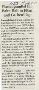 Planungsmittel für Bahn-Hal in Elten und Co. bewilligt